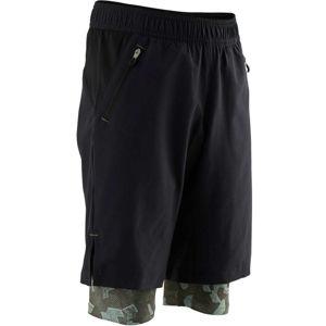 DOMYOS Dvojité šortky S900 Gym čierne